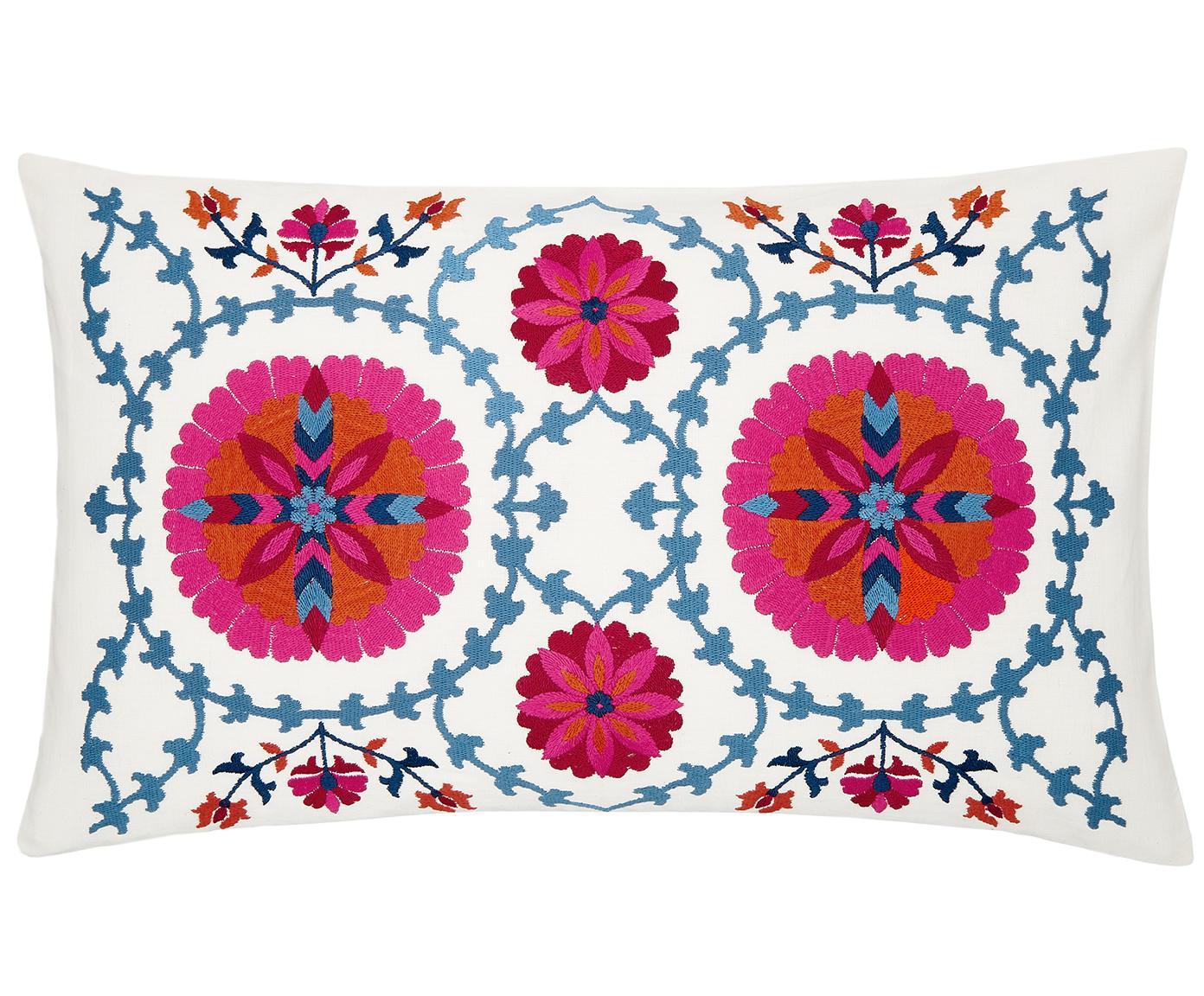 Bestickte Kissenhülle Tabula, 100% Baumwolle, Cremeweiss, Mehrfarbig, 30 x 50 cm