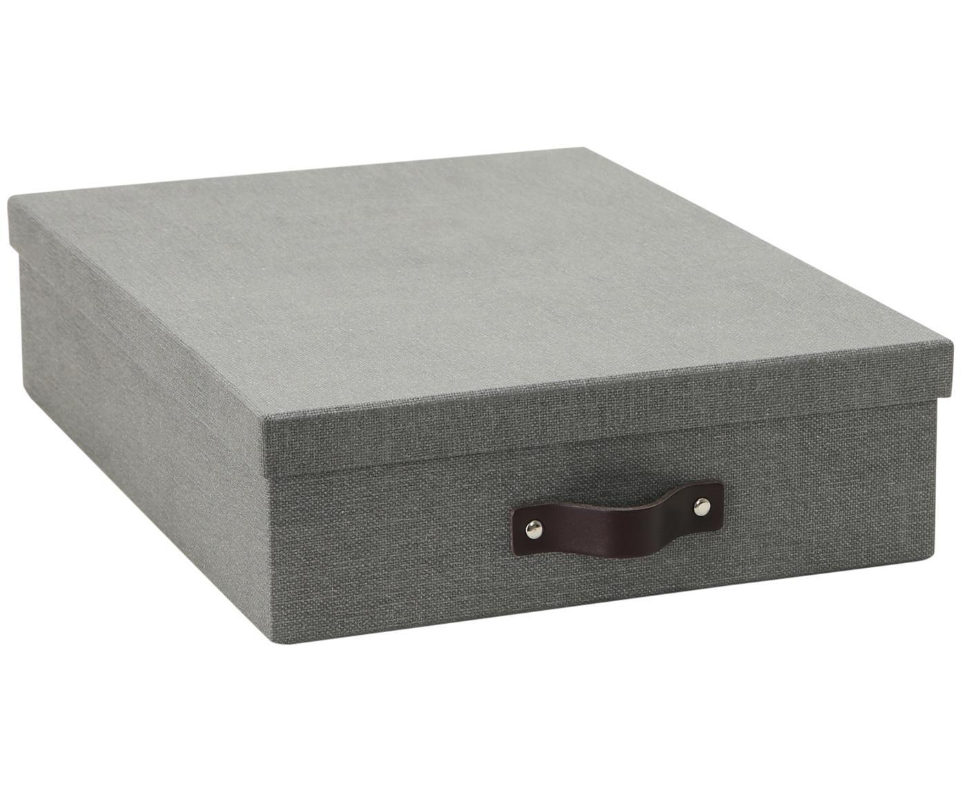 Caja Oskar II, Caja: cartón recubierto de lino, Asa: cuero, Exterior: gris Interior: negro Asa: marrón oscuro, An 26 x Al 9 cm