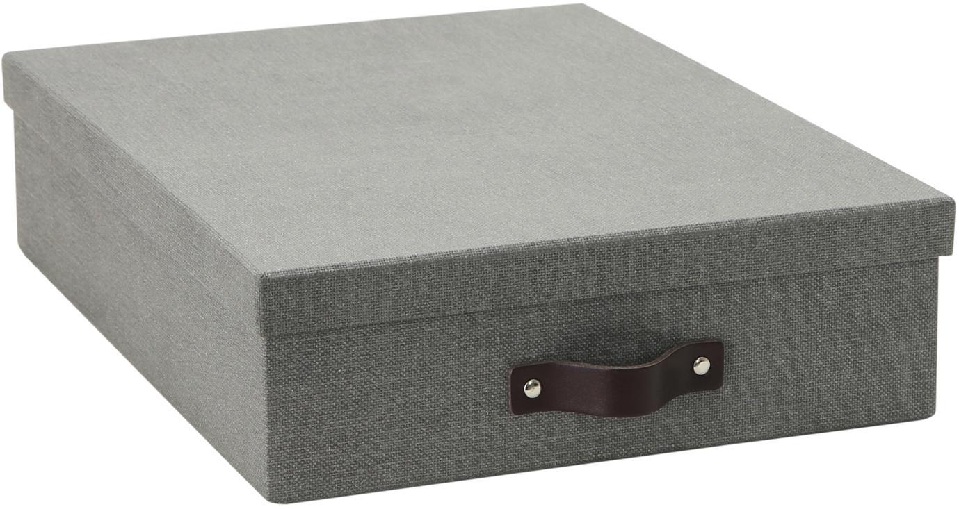 Caja Oskar II, Caja: cartón recubierto de lino, Asa: cuero, Gris, An 26 x Al 9 cm