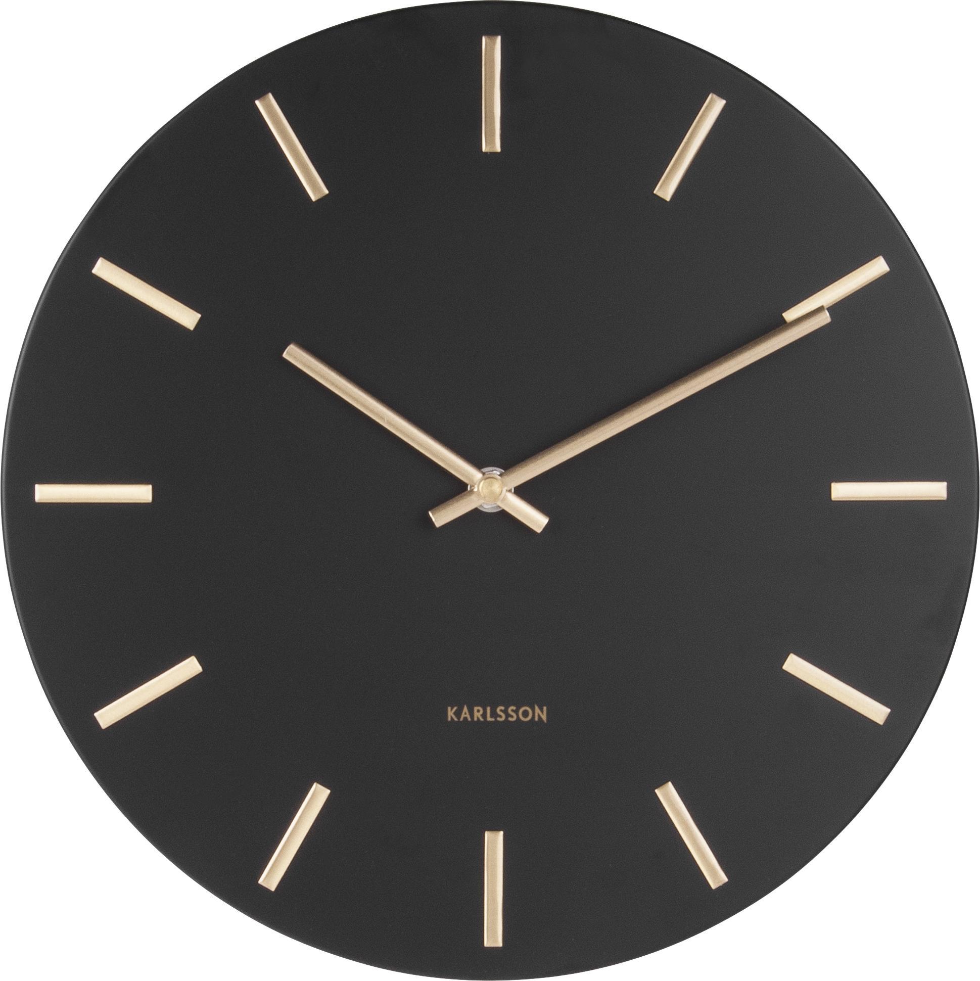 Zegar ścienny Charm, Stal lakierowana, Czarny, Ø 30 x G 4 cm