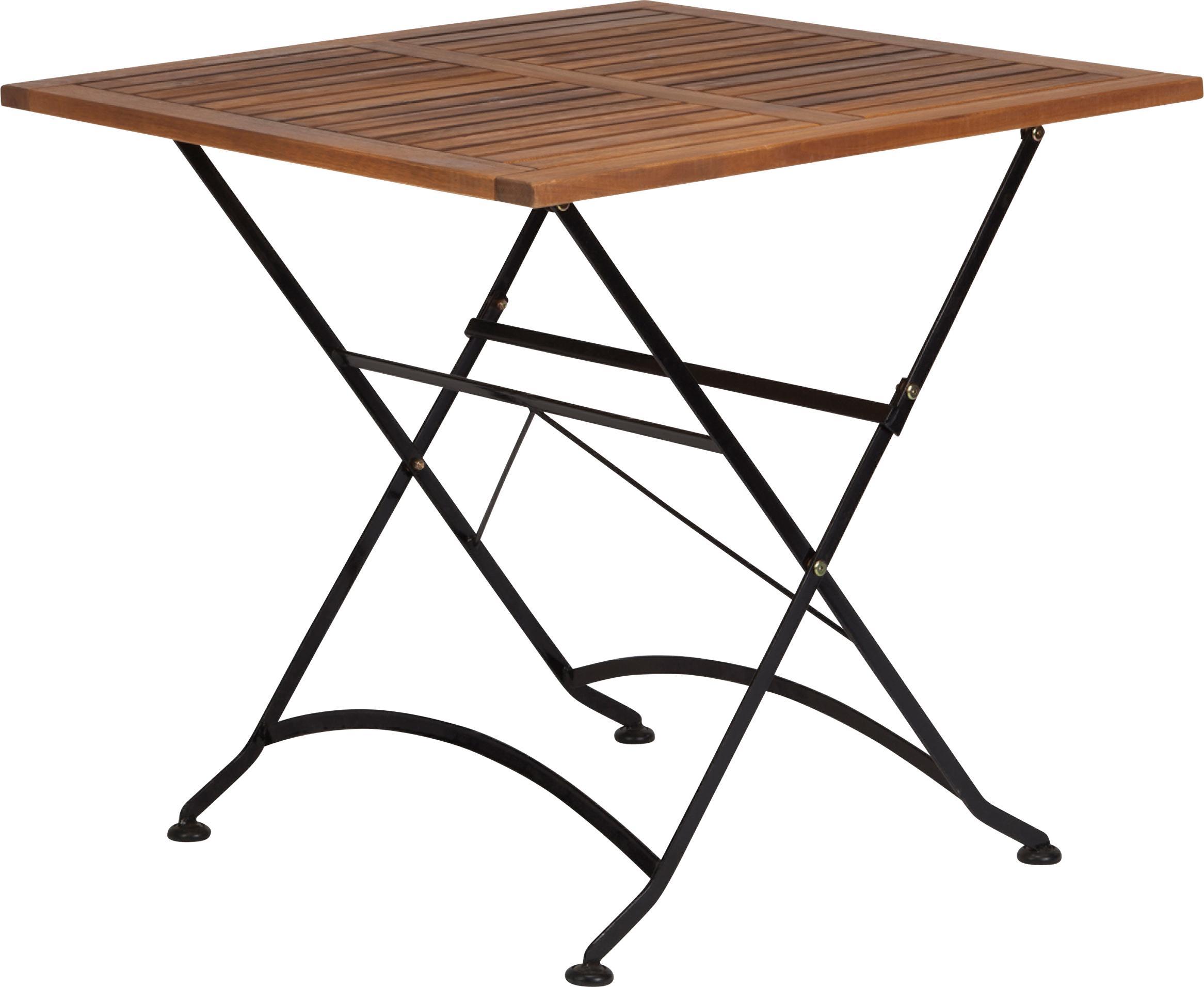 Klappbarer Gartentisch Parklife mit Holzplatte, Tischplatte: Akazienholz, geölt,, Gestell: Metall, verzinkt, pulverb, Schwarz, Akazienholz, 80 x 75 cm