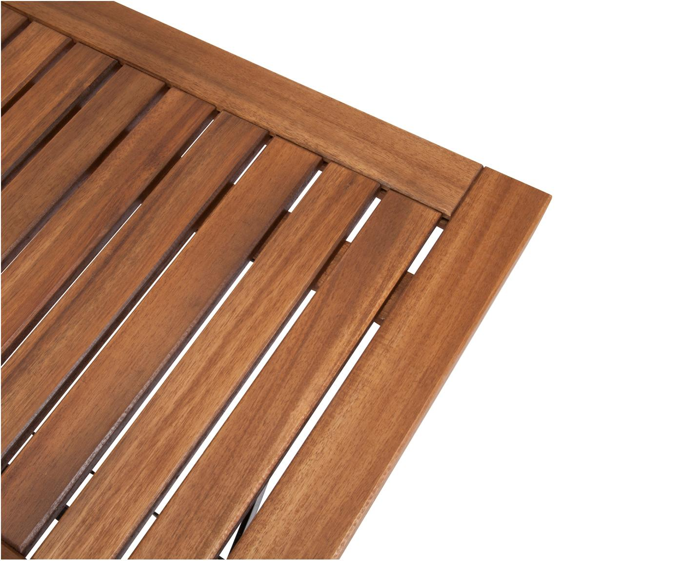 Klaptafel Parklife, Tafelblad: geolied acaciahout,, Frame: verzinkt en gepoedercoat , Zwart, acaciahoutkleurig, 80 x 75 cm