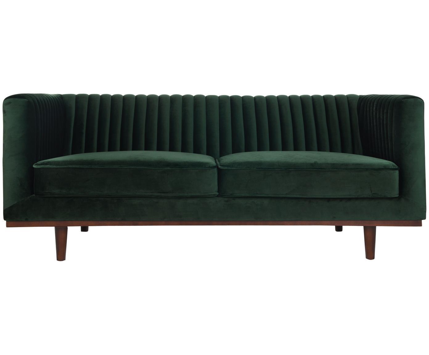 Sofa z aksamitu Dante (2-osobowa), Tapicerka: aksamit poliestrowy, Stelaż: drewno kauczukowe lakiero, Tapicerka: pianka poliuretanowa, Zielony, S 174 x G 87 cm