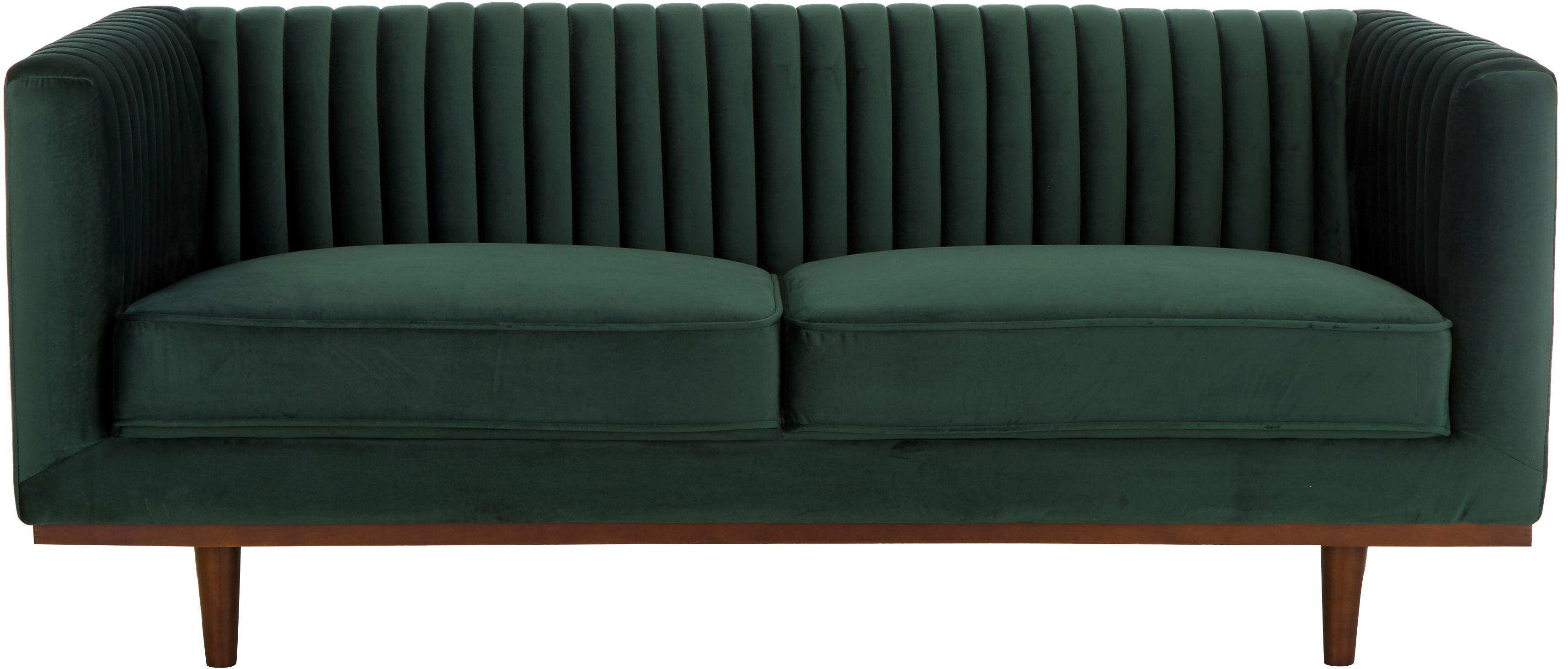 Divano 2 posti in velluto verde Dante, Rivestimento: velluto di poliestere, Struttura: legno di caucciù, laccato, Velluto verde, Larg. 174 x Prof. 87 cm