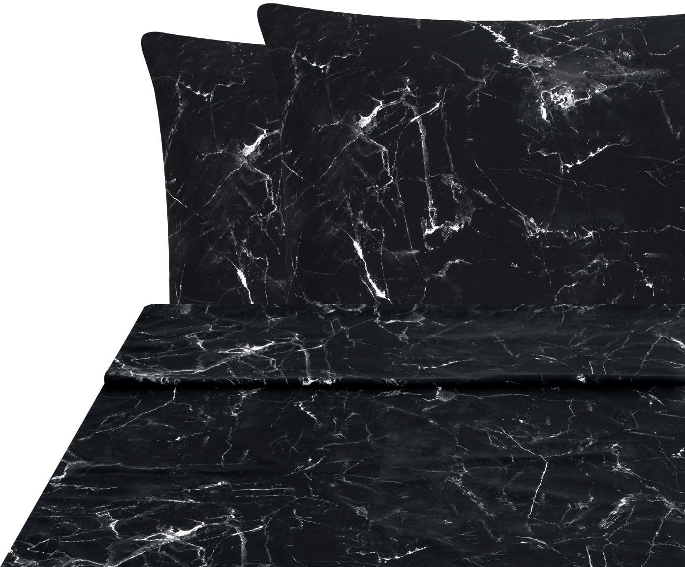 Set lenzuola reversibile Malin 3 pz, Tessuto: percalle Densità del filo, Nero, bianco, 240 x 300 cm