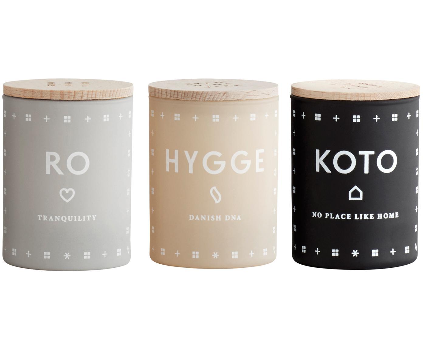 Komplet świec zapachowych Hjem (cytrus, świeża trawa & truskawka), 3 elem., Kremowy, Ø 4 x W 6 cm