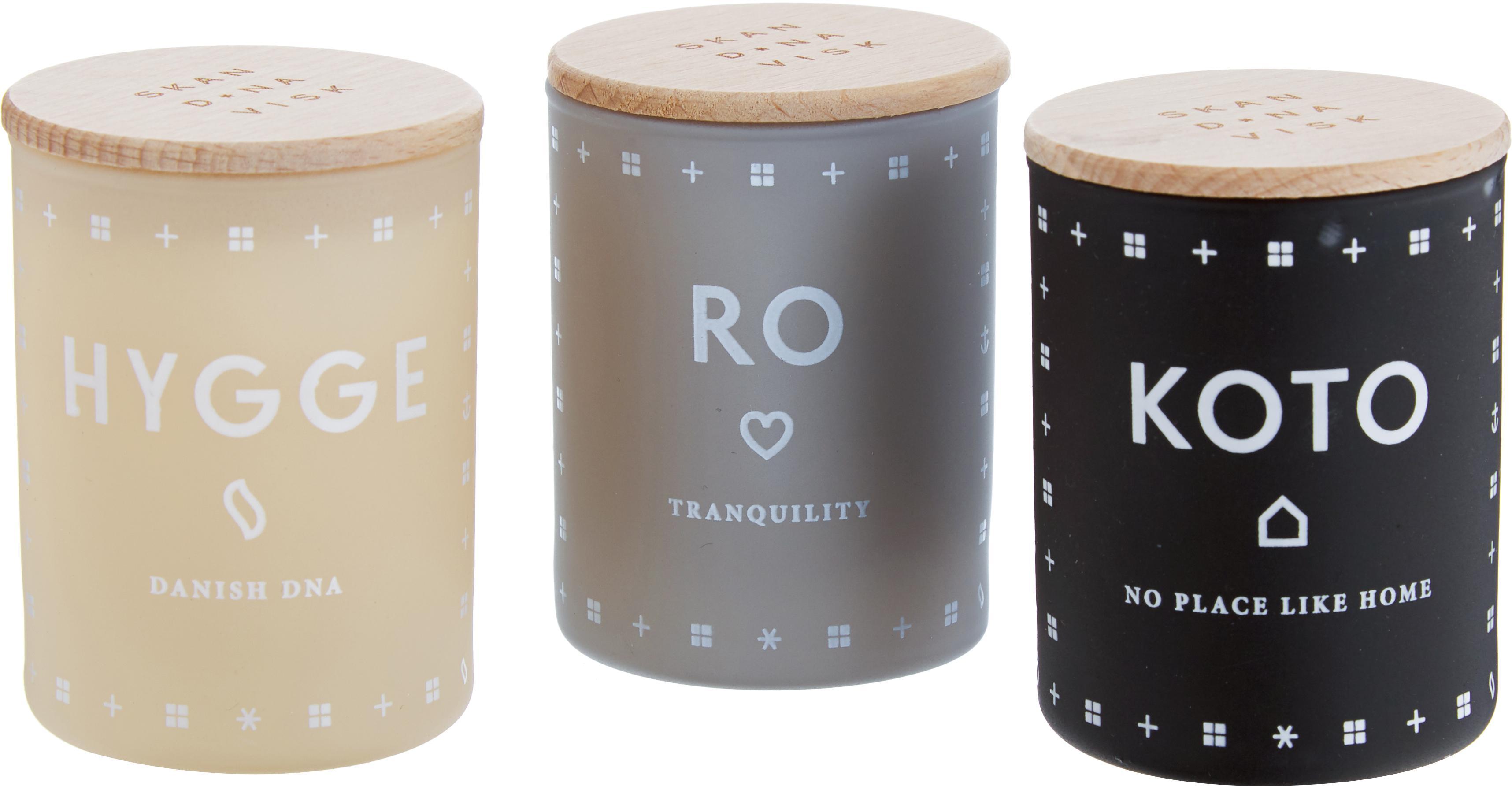 Set candele profumate Hjem (agrumi, erba fresca e fragole), 3 pz., Contenitore: vetro, Coperchio: legno di faggio, Crema, Ø 4 x A 6 cm