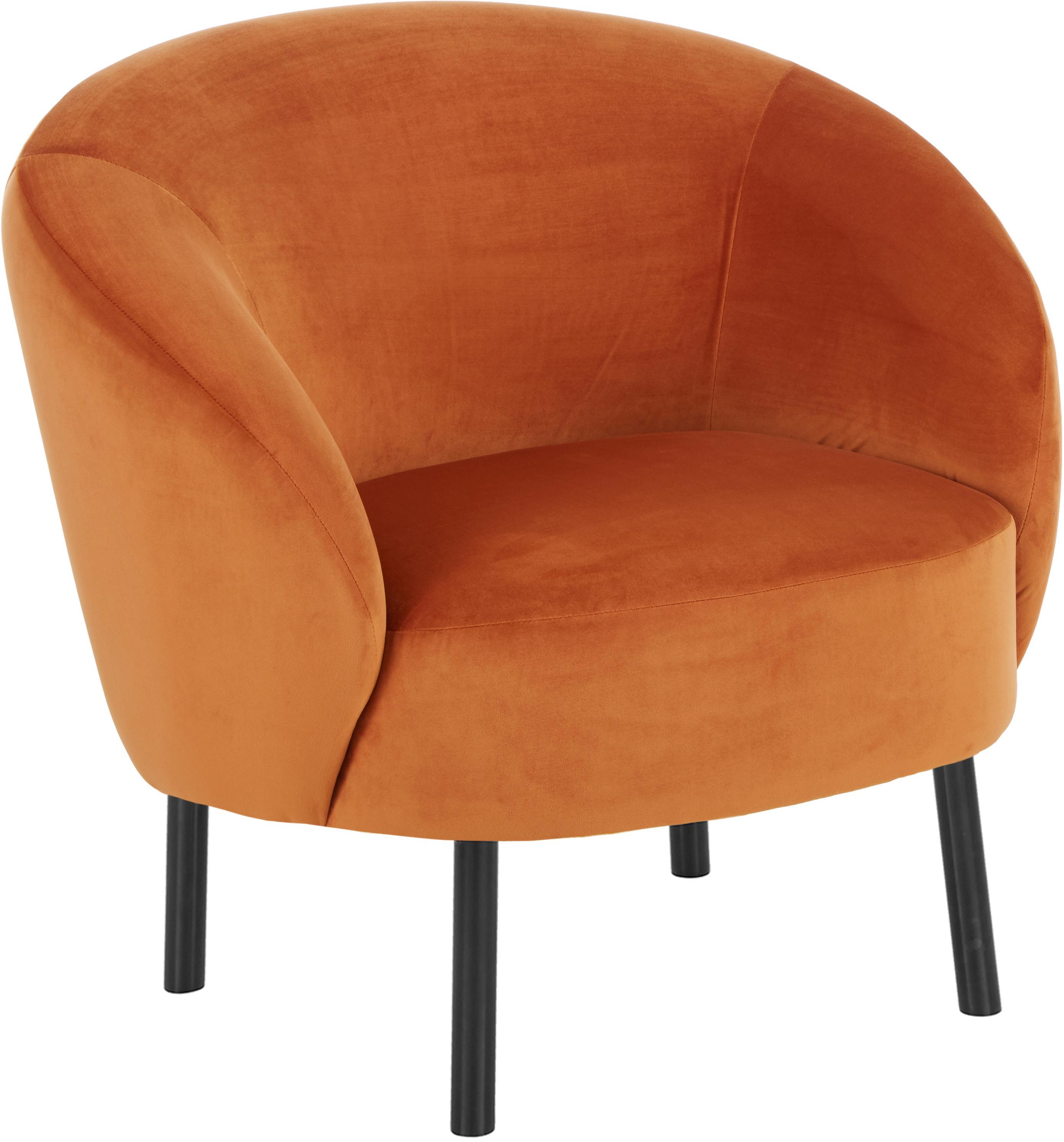 Fluwelen fauteuil Freja, Bekleding: fluweel (polyester), Poten: gepoedercoat metaal, Fluweel oranje, B 65 x D 72 cm