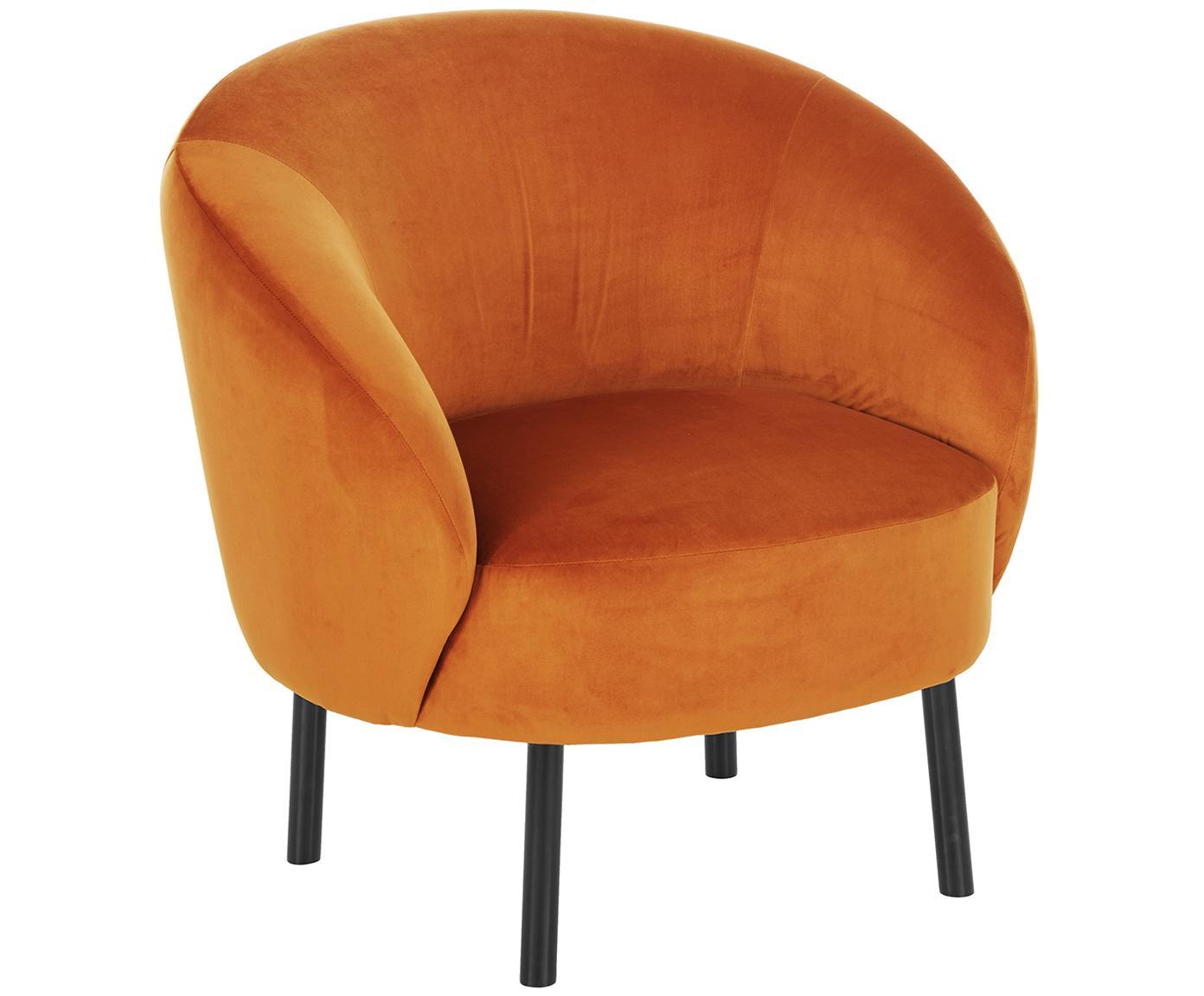 Fotel z aksamitu Freja, Tapicerka: aksamit (poliester) 30 00, Nogi: metal malowany proszkowo, Pomarańczowy aksamit, S 65 x G 72 cm