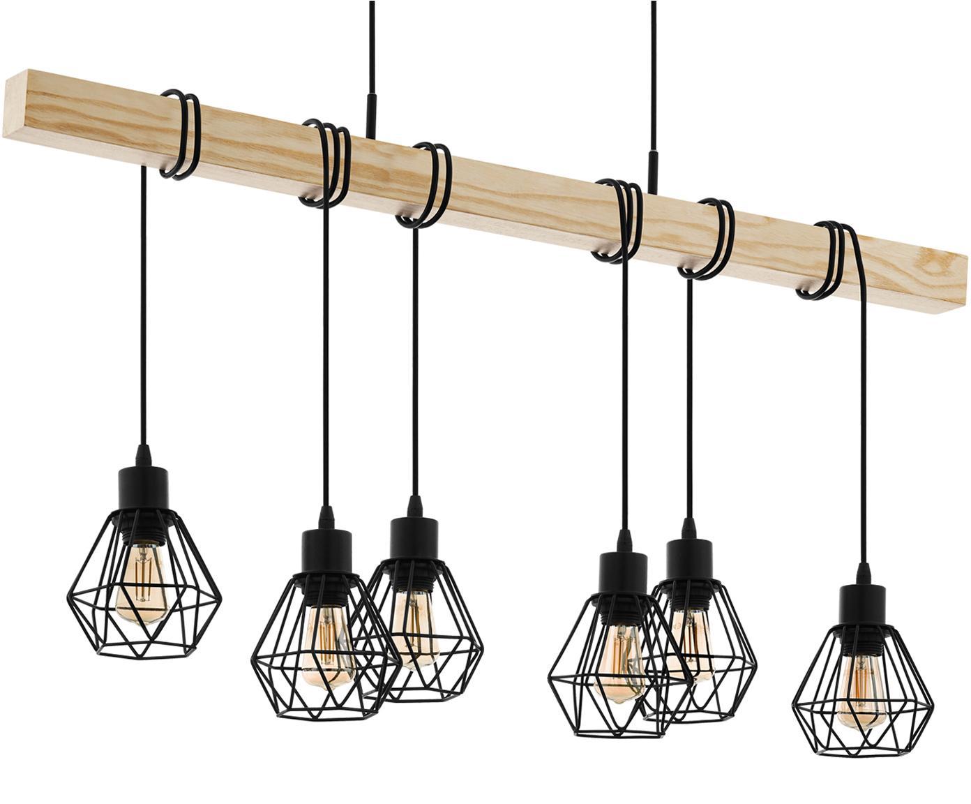 Duża lampa wisząca Townshend, Czarny, drewno naturalne, S 100 x W 110 cm