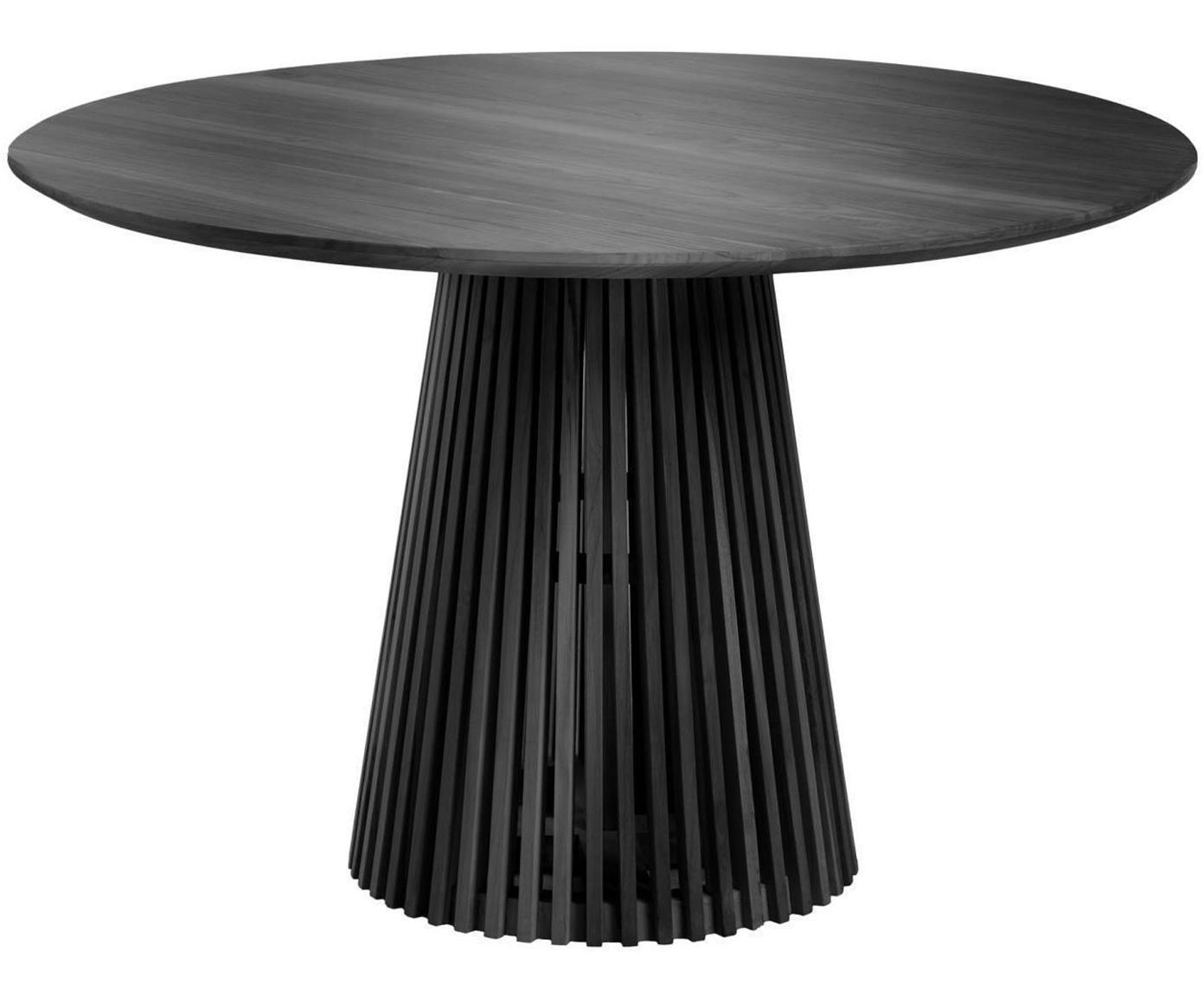 Runder Massivholz Esstisch Jeanette im Skandi Design, Holz, Schwarz, 120 x 78 cm