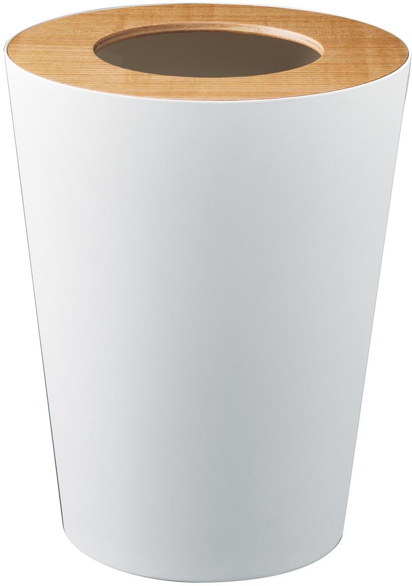 Abfalleimer Rin, Deckel: Holz, Weiß, Braun, Ø 23 x H 28 cm