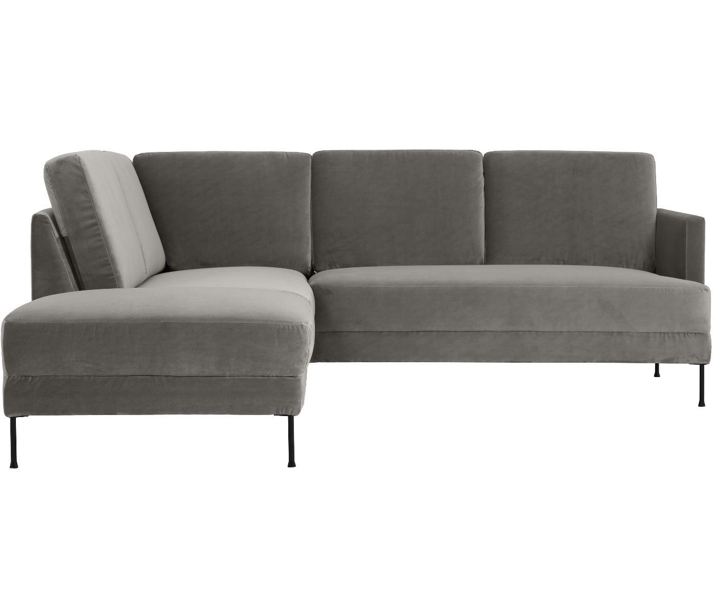 Sofa narożna z aksamitu Fluente, Tapicerka: aksamit (wysokiej jakości, Stelaż: lite drewno sosnowe, Nogi: metal lakierowany, Aksamitny szarobrązowy, S 221 x G 200 cm