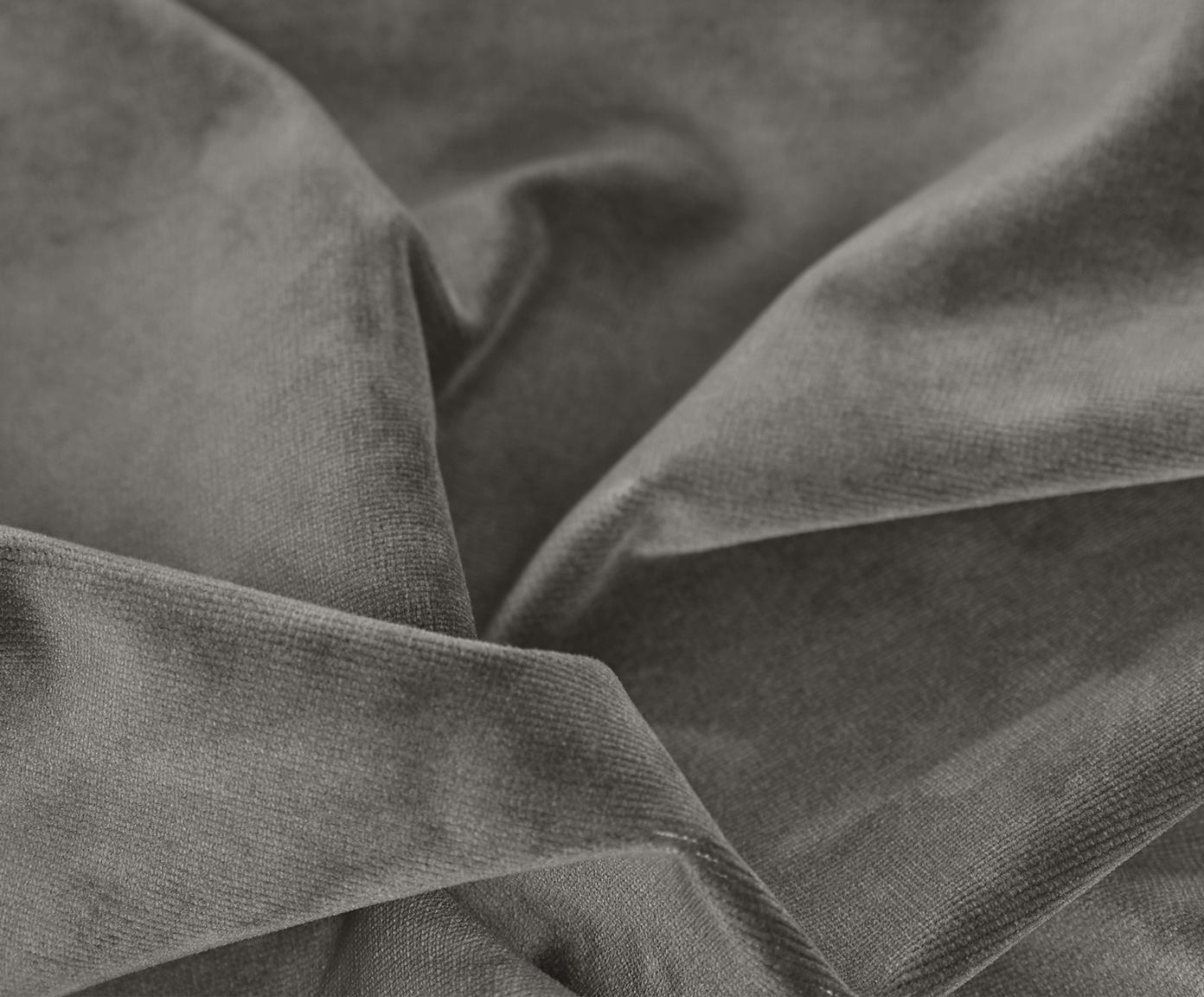 Samt-Ecksofa Fluente, Bezug: Samt (Hochwertiger Polyes, Gestell: Massives Kiefernholz, Füße: Metall, lackiert, Samt Braungrau, B 221 x T 200 cm