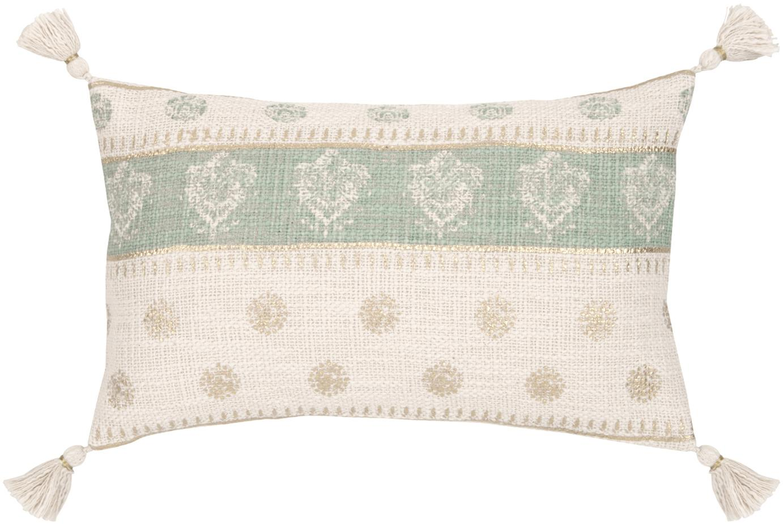 Poszewka na poduszkę z chwostami Jasmine, Bawełna, Beżowy, zielony miętowy, odcienie złotego, S 30 x D 50 cm