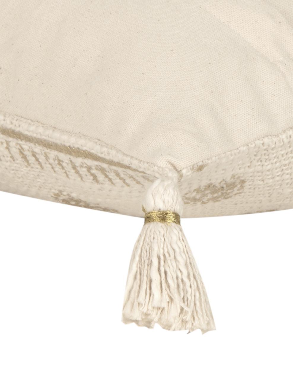 Housse de coussin rectangulaire boho Jasmine, Beige, vert menthe, couleur dorée