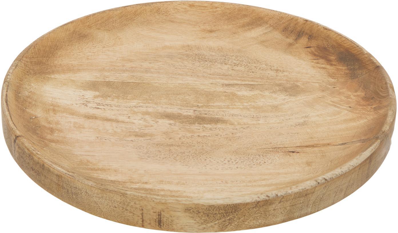 Rundes Deko-Tablett Forest aus Holz, Mangoholz, Braun, Ø 30 x H 4 cm
