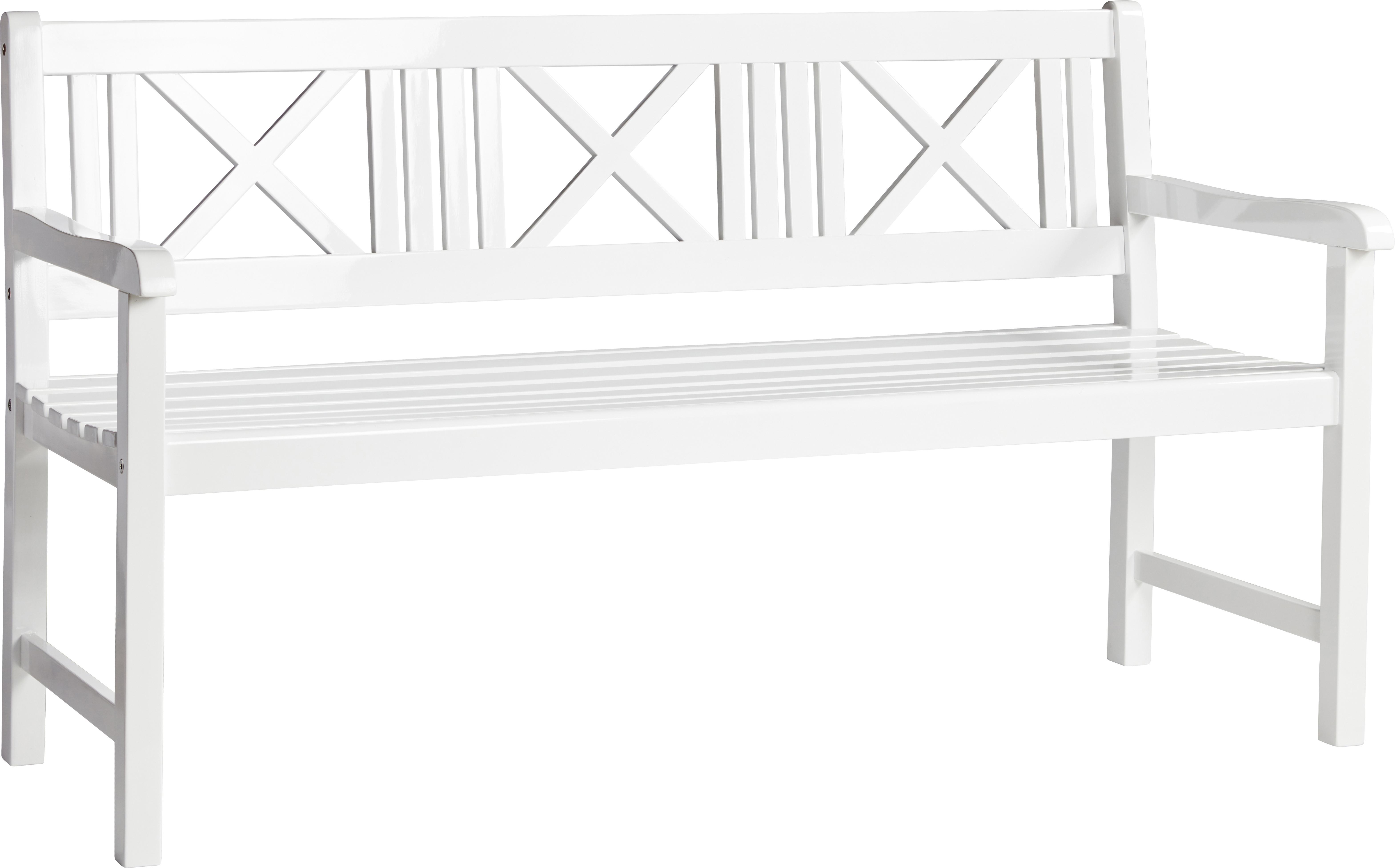 Banco de jardín de madera Rosenborg, Madera de teca lijada, Blanco, An 150 x Al 89 cm