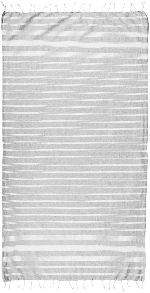 Fouta con flecos Surfside, 100%algodón, Gris claro, An 90 x L 170 cm