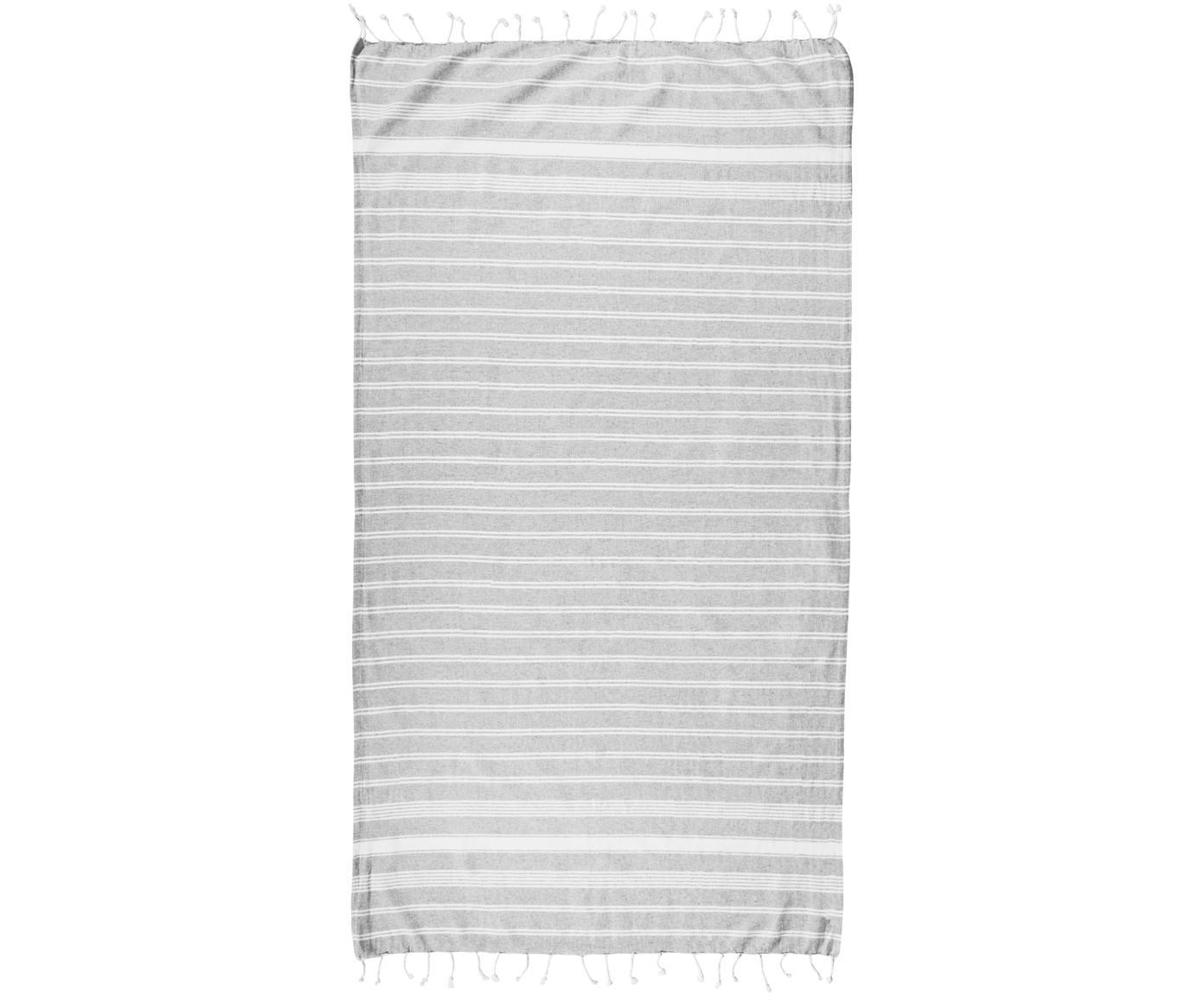 Telo mare a righe Surfside, 100% cotone, Grigio chiaro, Larg. 90 x Lung. 170 cm