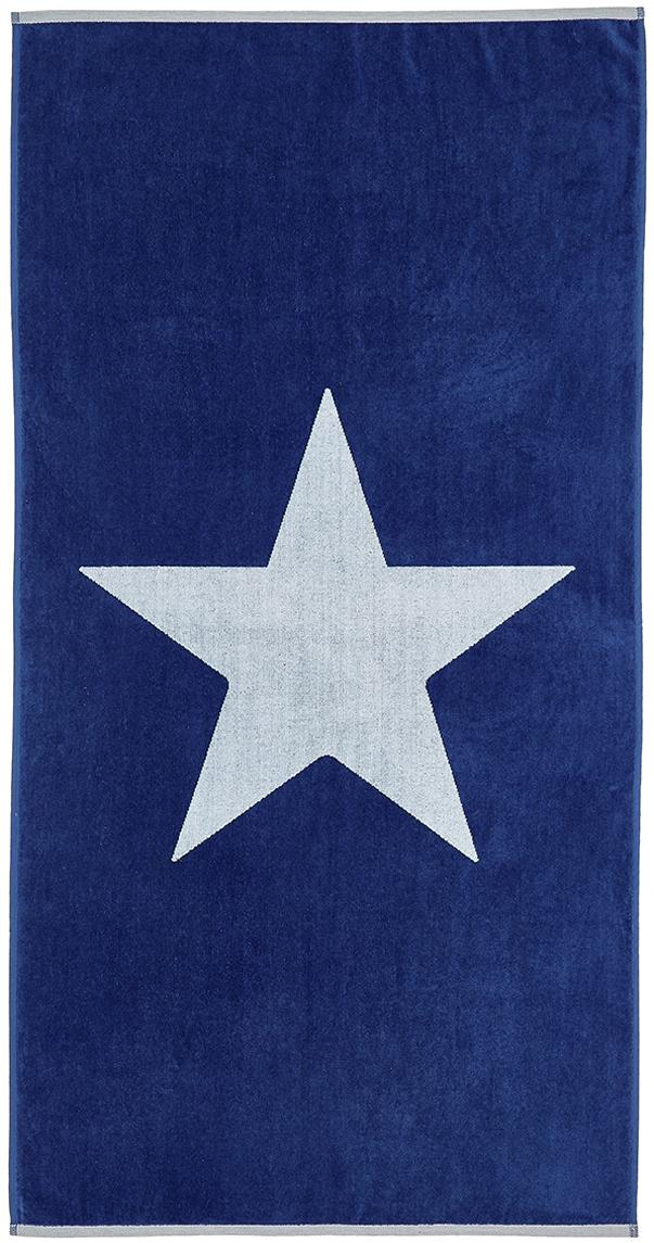 Strandtuch Spork mit Sternen-Motiv, 100% Baumwolle leichte Qualität 380 g/m², Blau, Weiss, 80 x 160 cm