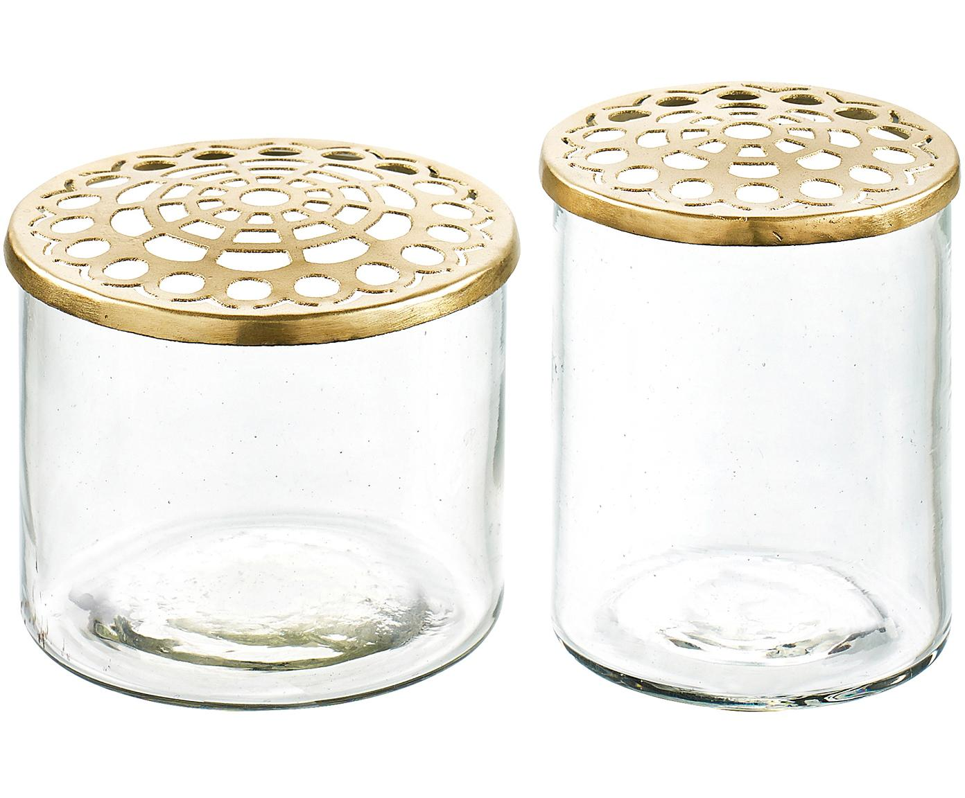 Komplet wazonów XS z metalową pokrywką Kastanje, 2 elem., Wazon: transparentny Pokrywka: mosiądz, Różne rozmiary