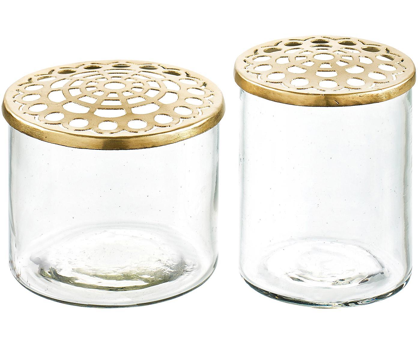 Set de jarrones pequeños Kastanje, 2pzas., Jarrón: vidrio, Jarrón: transparente Tapadera: latón, Tamaños diferentes