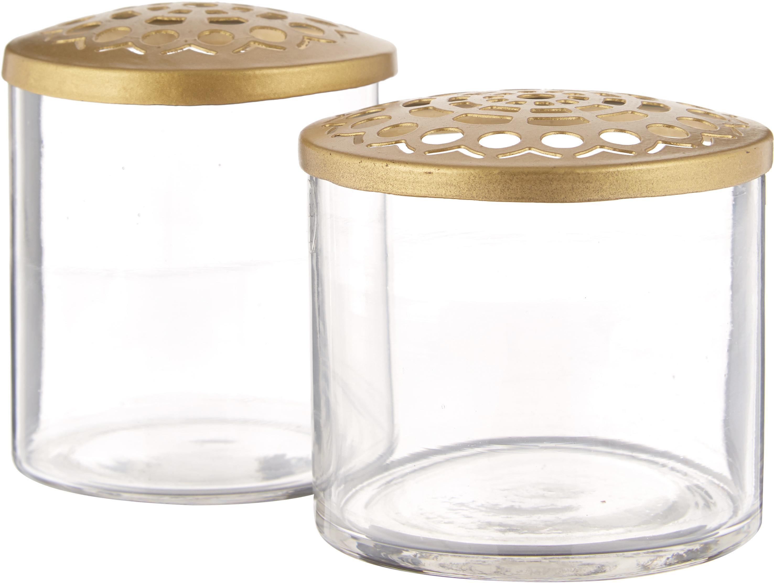 Set 2 vasi con coperchio in metallo Kastanje, Vaso: vetro, Coperchio: acciaio inossidabile otto, Vaso: trasparente Coperchio: ottone, Diverse dimensioni