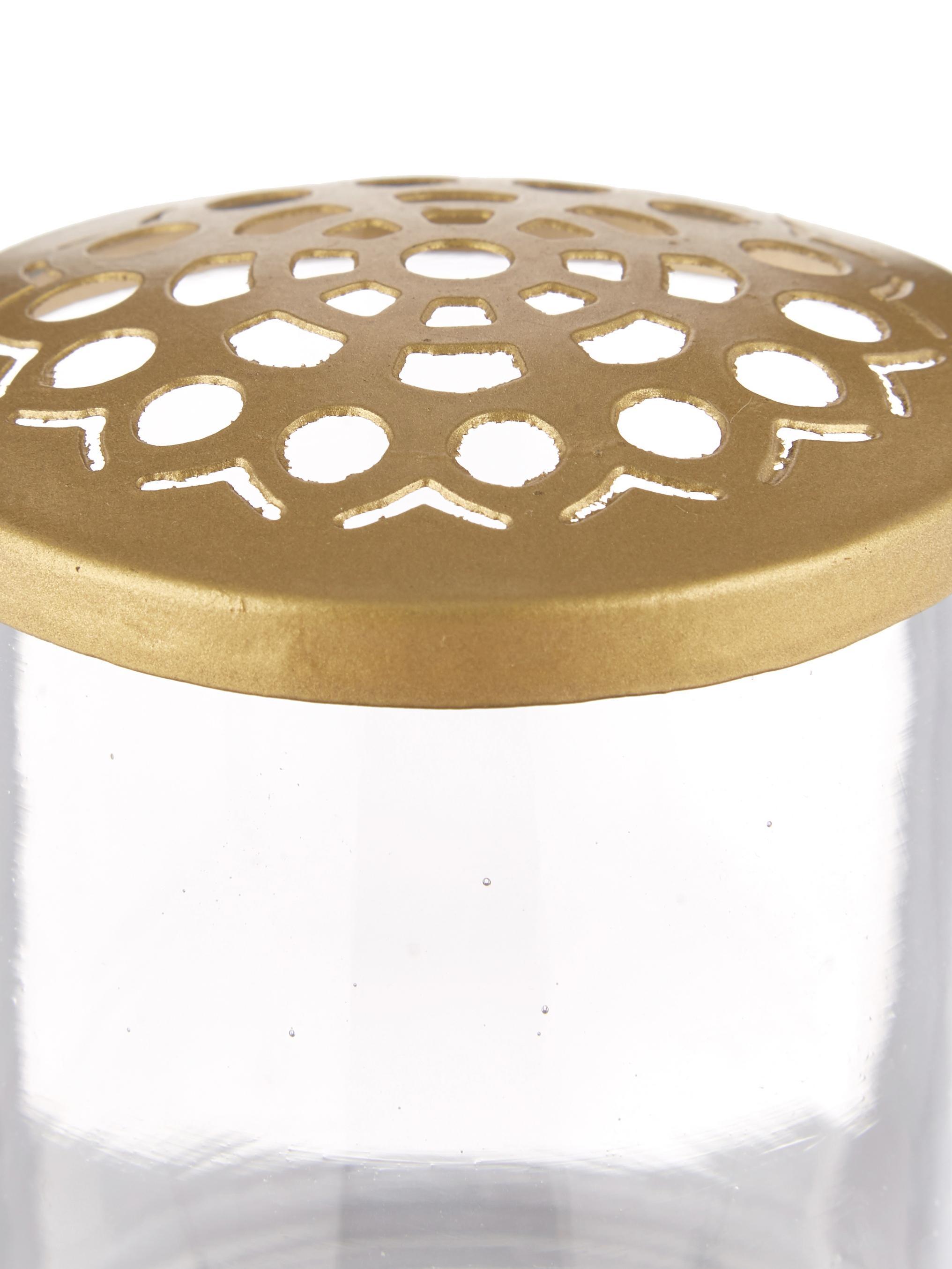 XS-vazenset Kastanje met metalen deksel, 2-delig, Vaas: glas, Deksel: vermessingd edelstaal met, Vaas: transparant. Deksel: messingkleurig, Verschillende formaten