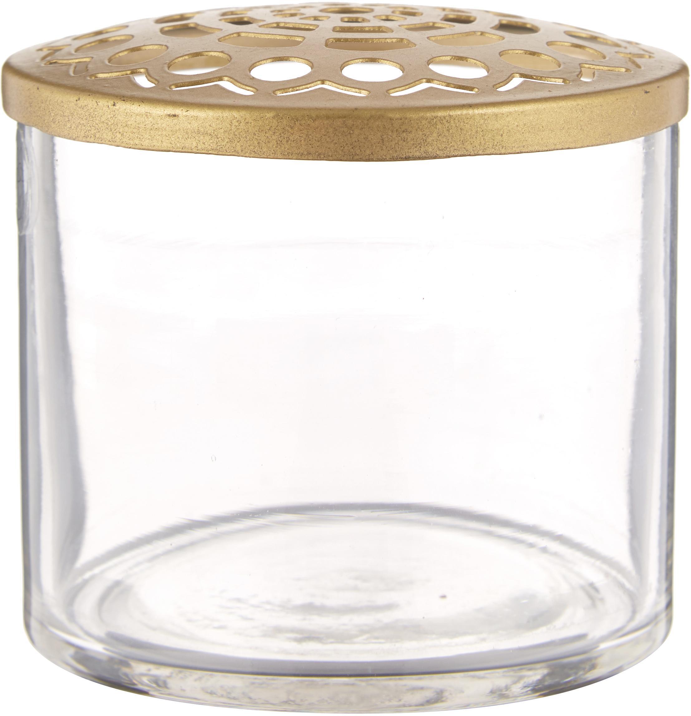 Set de jarrones pequeños Kastanje, 2pzas., Jarrón: vidrio, Jarrón: transparente Tapadera: latón, Set de diferentes tamaños