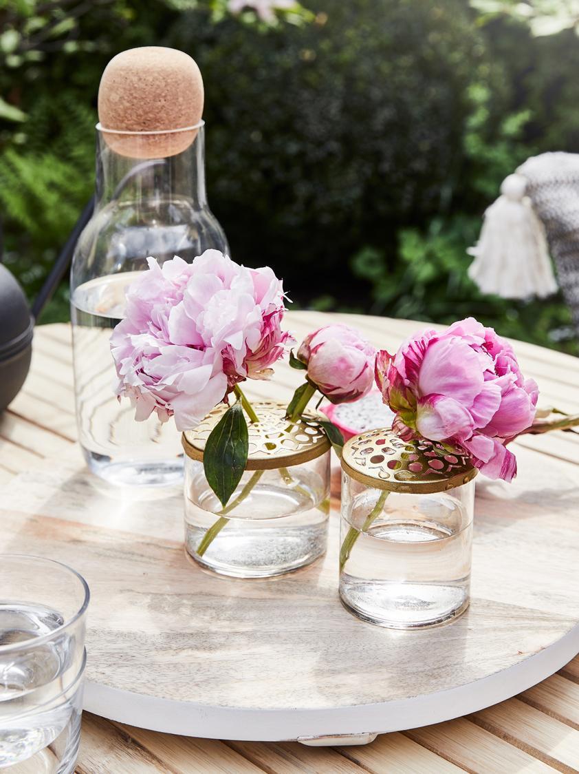 XS Vasen-Set Kastanje mit Metalldeckel, 2-tlg., Vase: Glas, Deckel: Edelstahl vermessingt, An, Vase: Transparent<br>Deckel: Messing, Sondergrößen