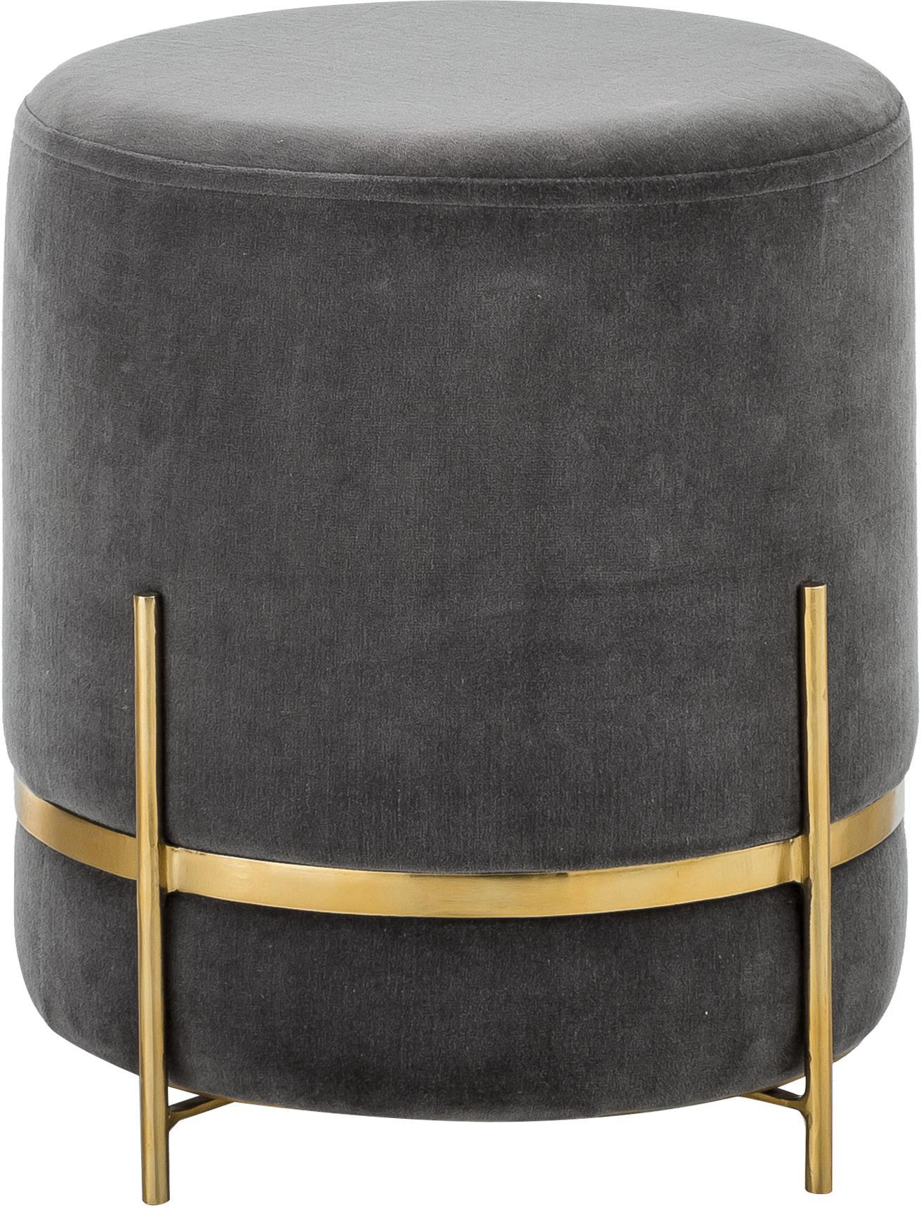 Puf de terciopelo Haven, Tapizado: terciopelo de algodón, Gris, dorado, Ø 38 x Al 45 cm