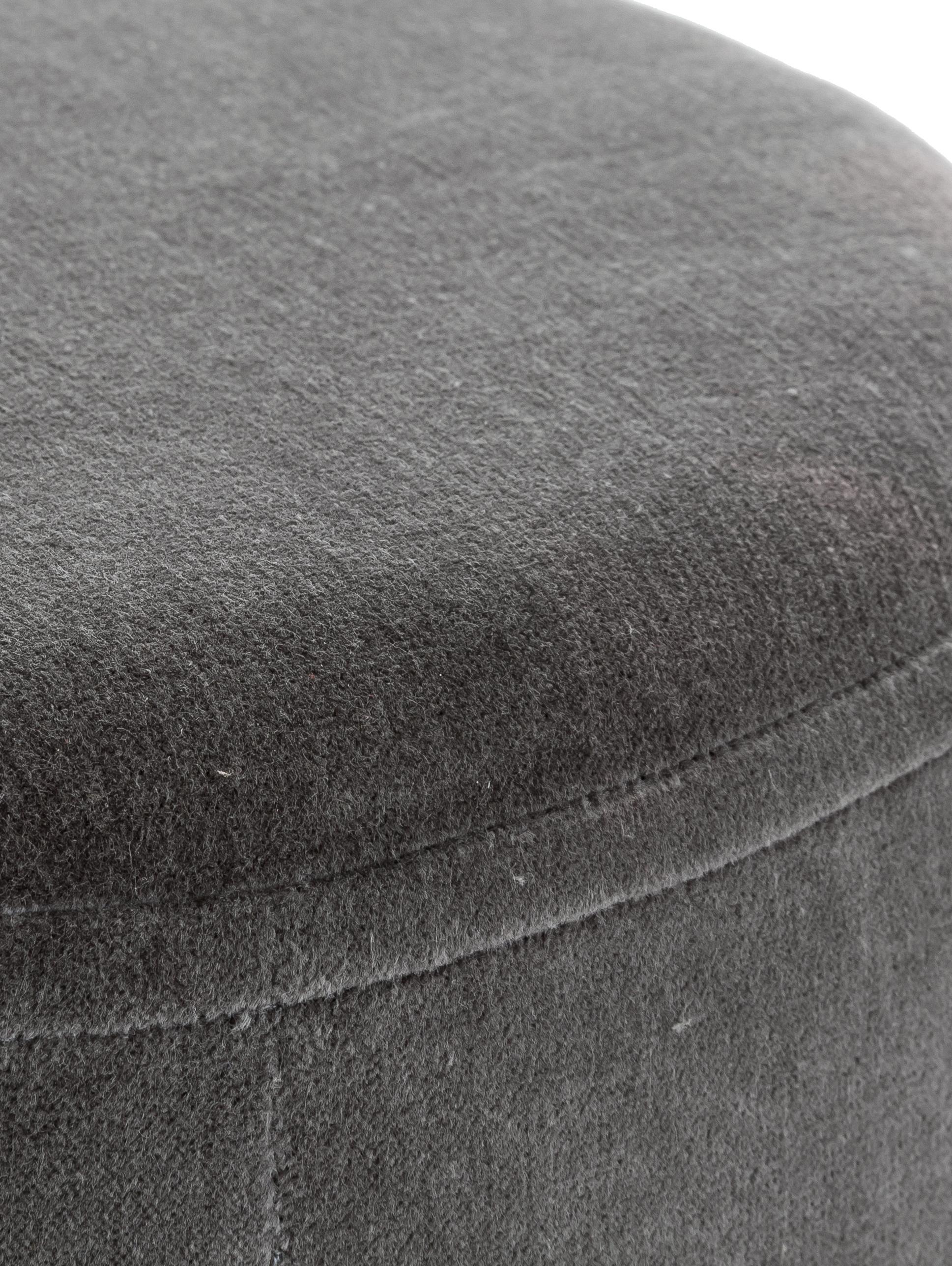 Puf z aksamitu Haven, Tapicerka: aksamit bawełniany, Szary, odcienie złotego, Ø 38 x W 45 cm