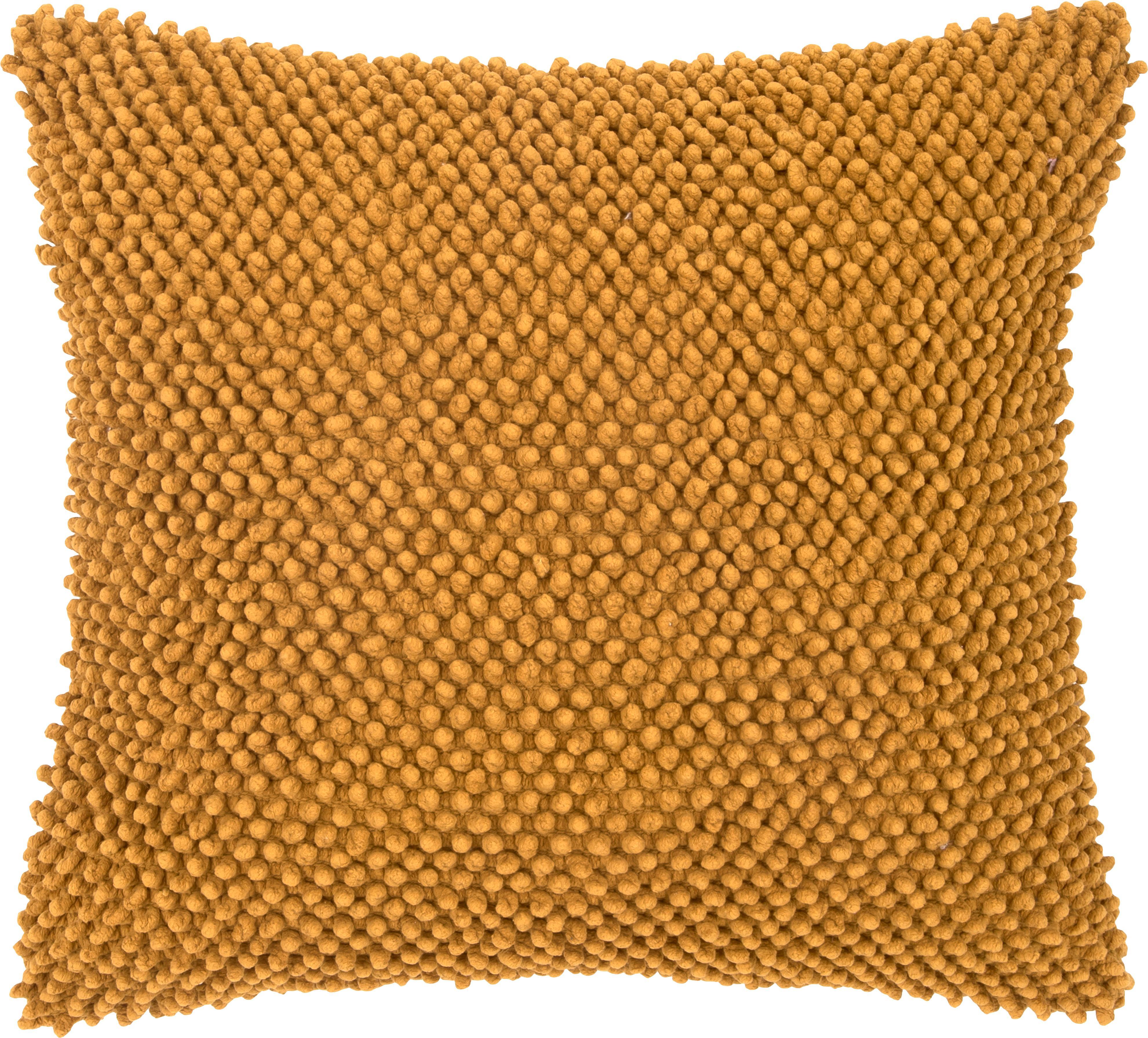Kussenhoes Indi met zacht gestructureerd oppervlak, Katoen, Geel, 45 x 45 cm