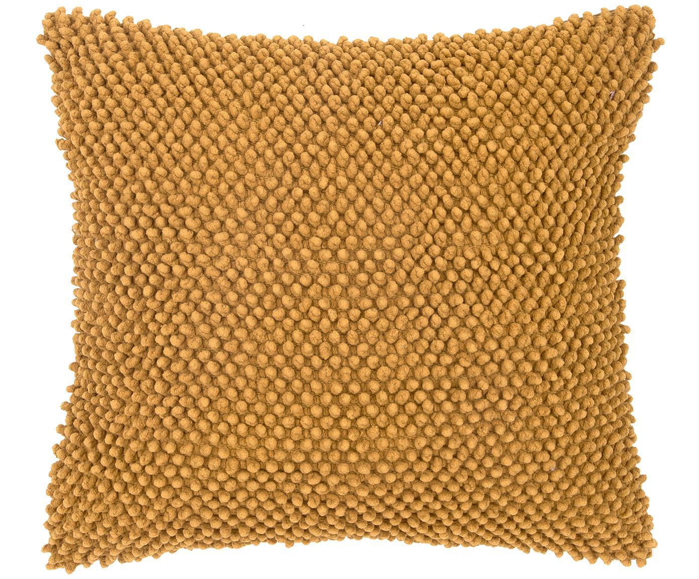 Poszewka na poduszkę z wypukłym wzorem Indi, Bawełna, Żółty, S 45 x D 45 cm