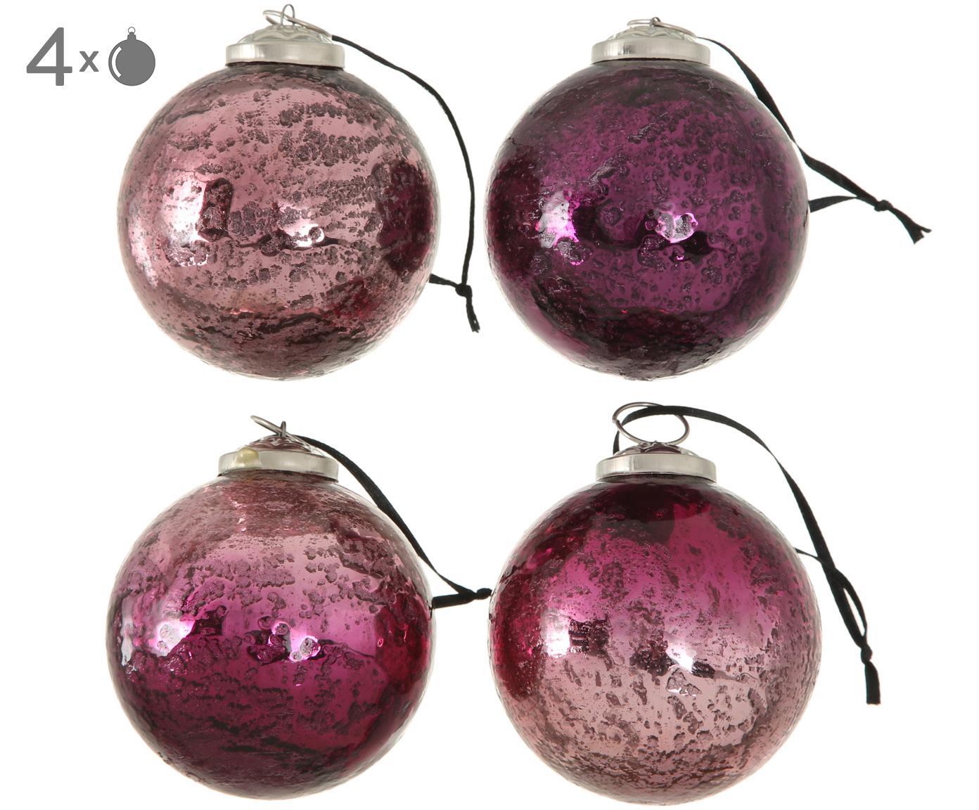 Kerstballenset Emilia, 4-delig, Rozetinten, lila, Ø 8 cm