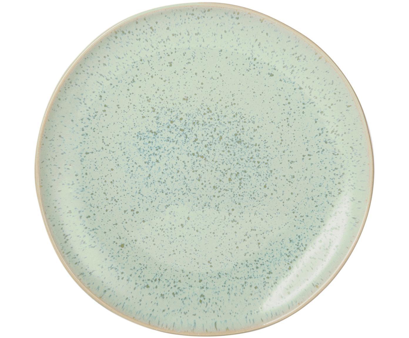Handbeschilderde ontbijtborden Areia, 2 stuks, Keramiek, Mintkleurig, gebroken wit, beige, Ø 22 cm