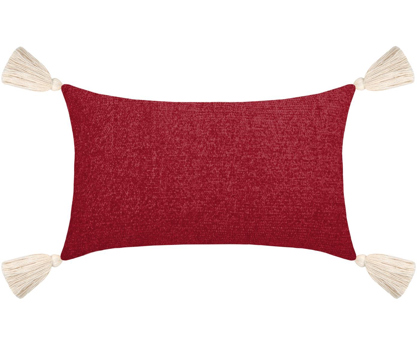Weiches Chenille-Kissen Chila mit Quasten, mit Inlett, Polyester, Rot, 30 x 50 cm