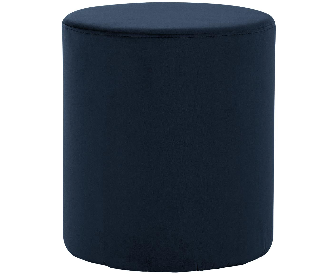 Puf de terciopelo Daisy, Tapizado: terciopelo (poliéster) 15, Estructura: tablero de fibras de dens, Azul marino, Ø 40 x Al 46 cm