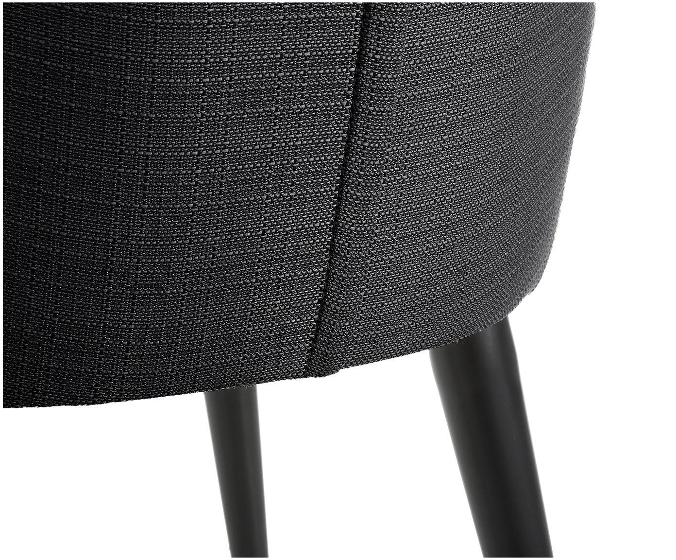 Gestoffeerde stoel Cleo, Bekleding: polyester, Poten: gepoedercoat metaal, Zwart, B 51 x D 62 cm