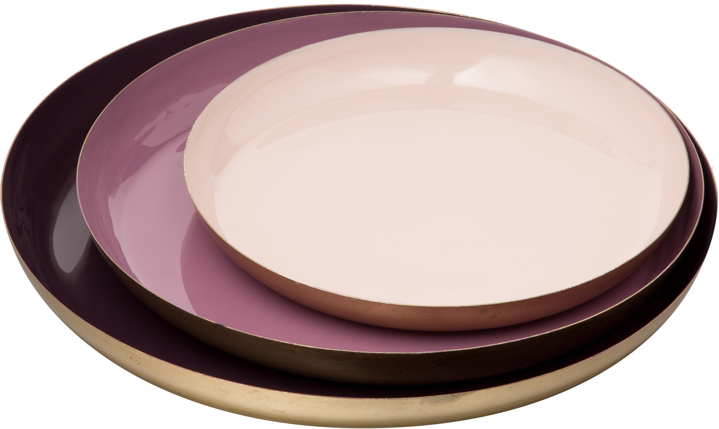 Komplet tac dekoracyjnych Minella, 3 elem., Metal lakierowany, Purpurowy, różowy, różowy Krawędź: odcienie złotego, Komplet z różnymi rozmiarami