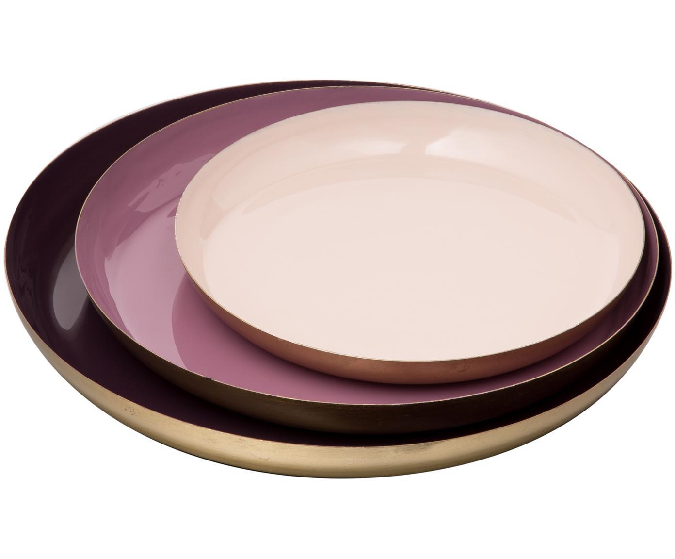 Decoratieve dienbladenset Minella, 3-delig, Gelakt metaal, Lila, roze. Rand: goudkleurig, Verschillende formaten