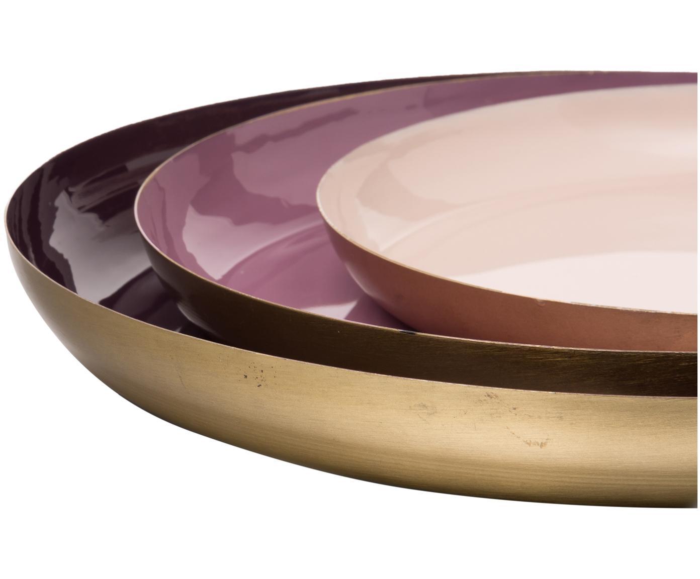 Set de bandejas decorativa Minella, 3pzas., Metal, pintado, Lila, rosa fuerte, rosa palo Exterior: dorado, Tamaños diferentes