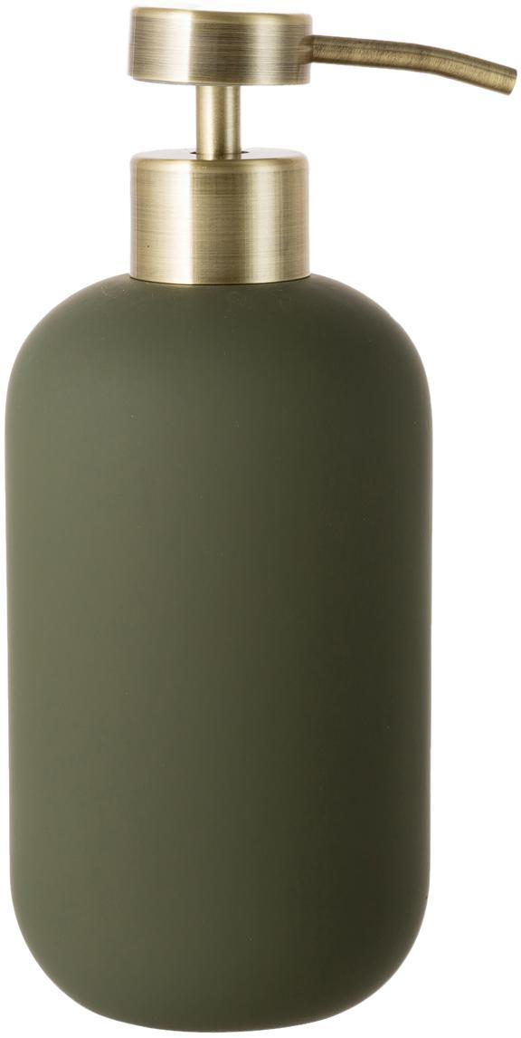 Dosatore di sapone Lotus, Contenitore: ceramica, Testa della pompa: metallo, Verde oliva, ottone, Ø 8 x A 18 cm