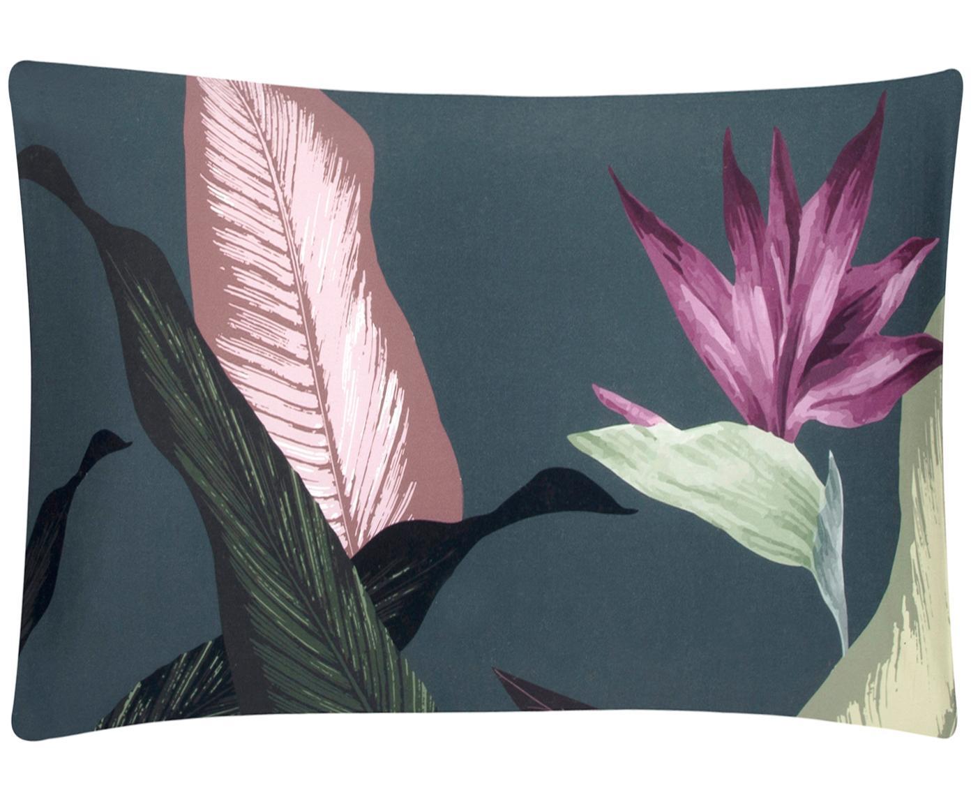 Funda de almohada de satén Flora, caras distintas, Multicolor, gris oscuro, An 50 x L 70 cm