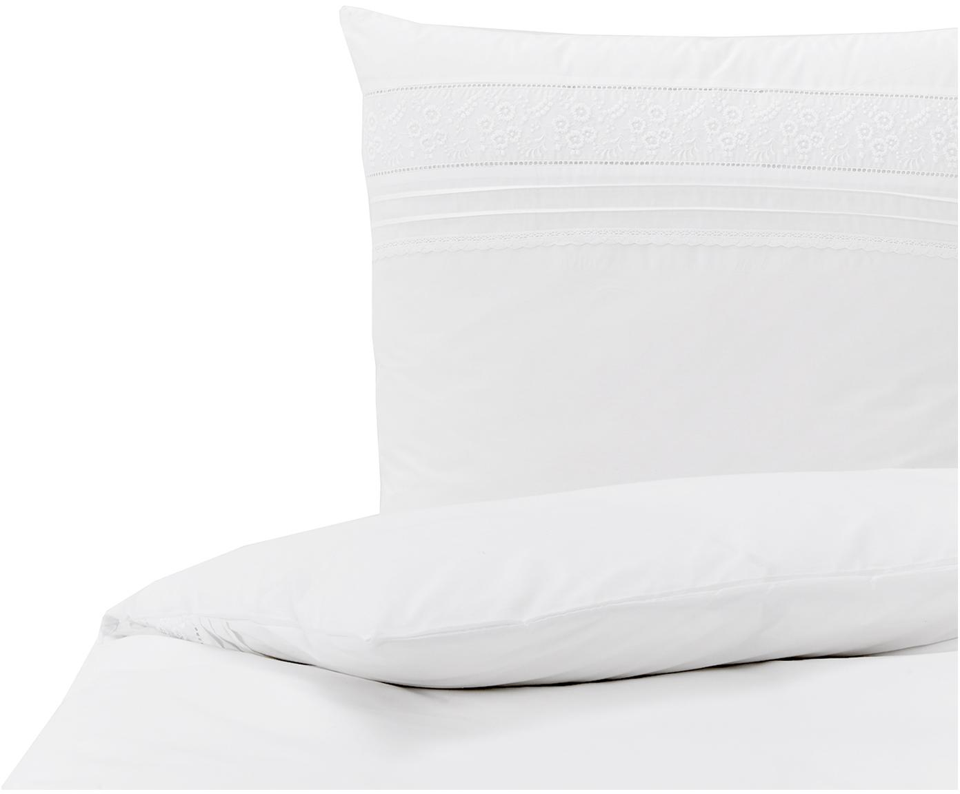 Baumwollperkal-Bettwäsche Avery in Weiß mit Stickerei, Webart: Perkal Fadendichte 200 TC, Weiß, 135 x 200 cm + 1 Kissen 80 x 80 cm