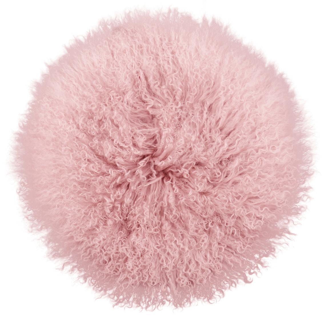 Federa arredo sedia in pelliccia di agnello a pelo lungo Ella, Retro: 100% poliestere, Rosa, Ø 37 cm