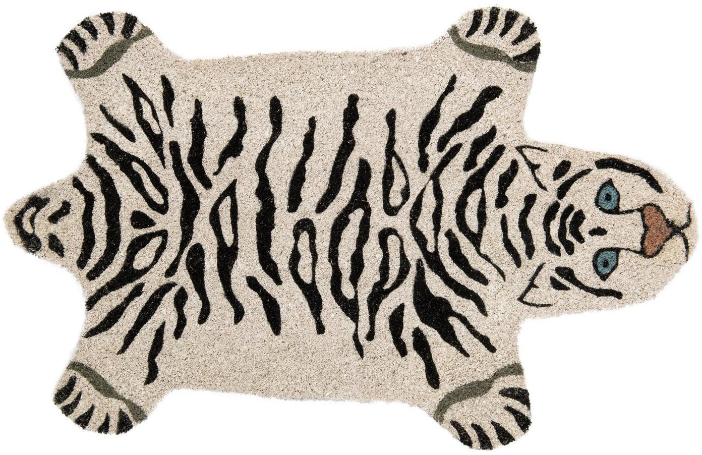 Felpudo White Tiger, Parte superior: fibras de coco, Reverso: PVC, Blanco crudo, negro, An 40 x L 70 cm