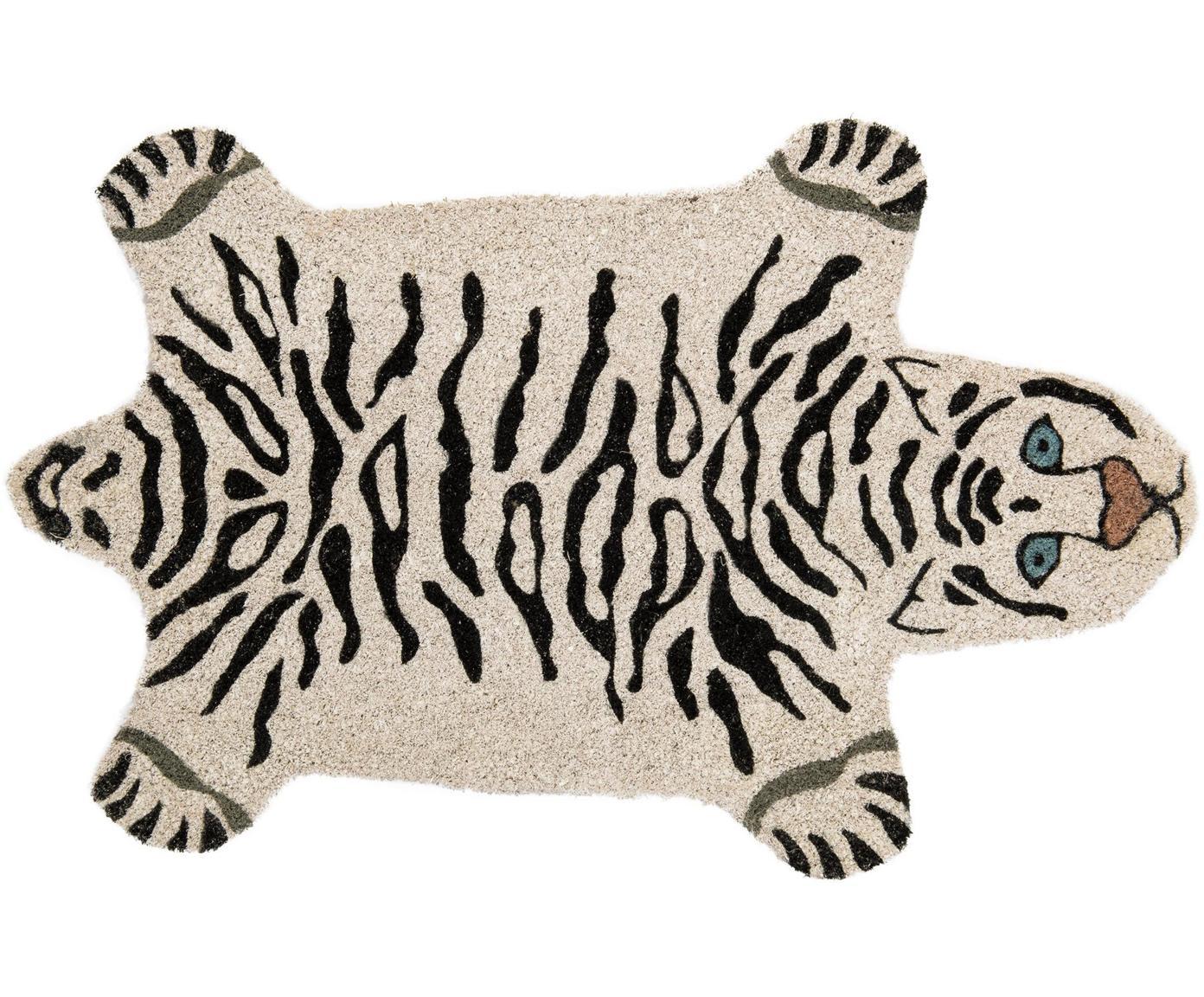 Deurmat White Tiger, Kokosvezels, Gebroken wit, zwart, 45 x 70 cm