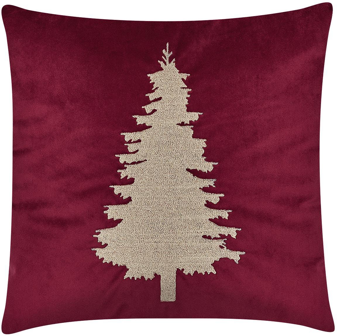 Federa arredo in velluto con albero di Natale Tree, Rosso, Larg. 40 x Lung. 40 cm